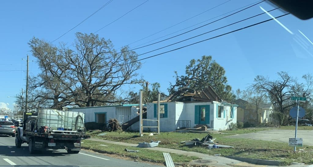 Hurricane Michael roof blown off of house